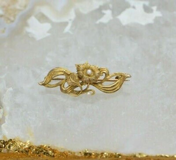 10K Gold Tested Victorian Floral Pin, Pearl set, Circa 1890, Nouveau Style