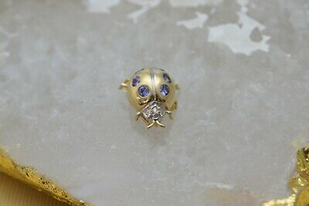 14K Yellow Gold Tanzanite and Diamond Ladybug Pendant or Pin