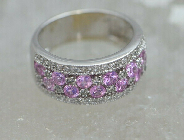 Diamond and Pink Sapphire Ring 2 ct tw 14K WG Size 8 Maker EFFY