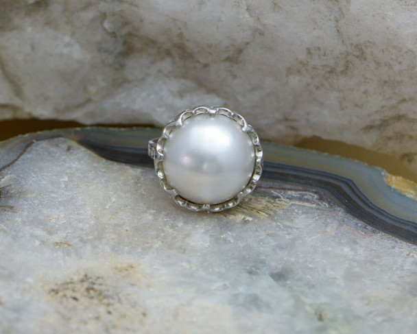 Vintage Platinum Mabe Pearl Ring with Diamond Accent Band Circa 1950, Size