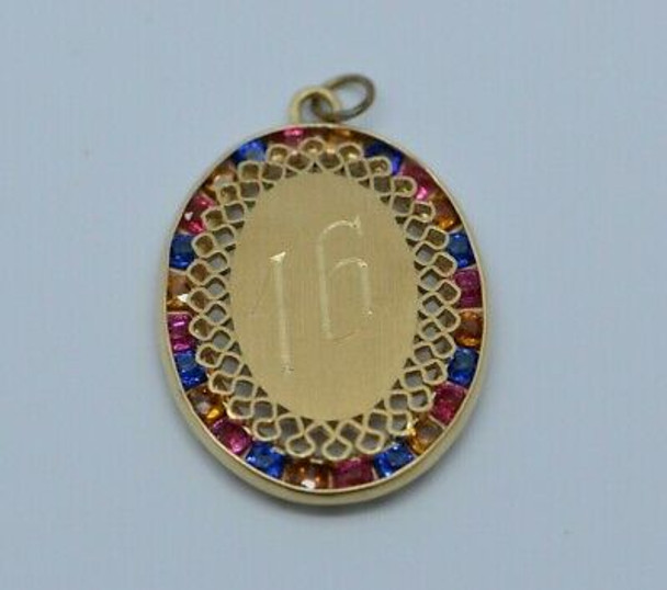 14K Yellow Gold Sweet 16 Pendant with Multicolor Stones Circa 1970
