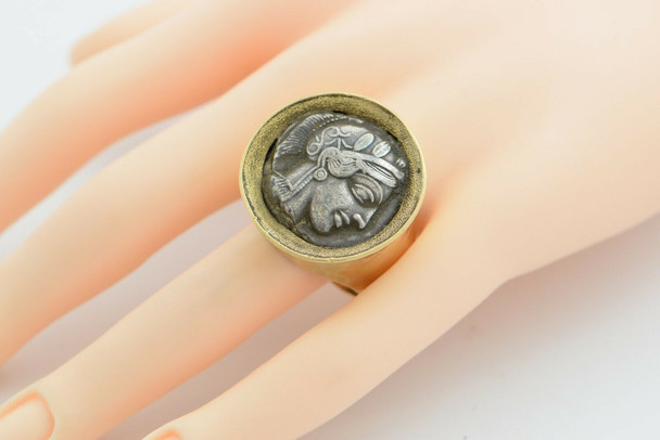 22K YG Authentic Ancient Greek Coin Ring Coin Circa 440-404 BC Size 12.5