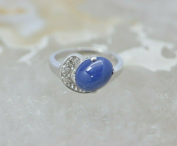 14K WG Blue Linde Star Sapphire with Diamond Accent Size 3 Circa 1970