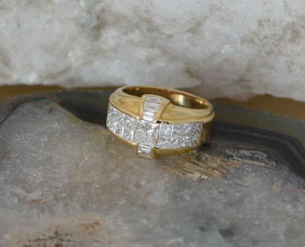 18K Yellow Gold Princess and Baguette Diamond Ring Circa 1990, Size 6