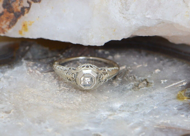 14K White Gold Vintage Filigree Ring with Small Diamond Center, Size 5.25