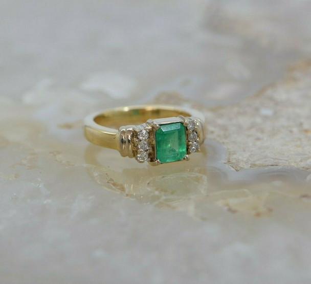 18K Yellow Gold Emerald and Diamond Ring Size 6 Circa 1980