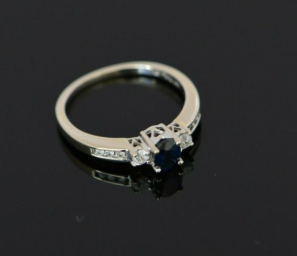 "14K WG ""Past, Present, Future"" Sapphire and Diamond Ring size 6.25"
