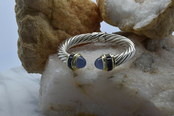 """David Yurman 14K and Sterling Silver Hinged 3/8"""" wide cable bracelet"""