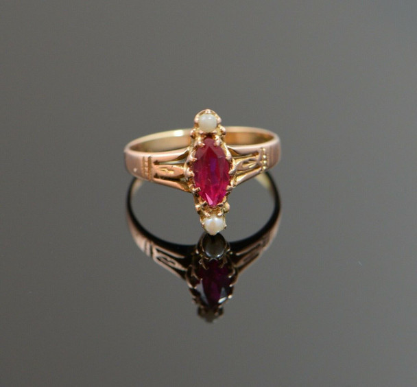 10K R/G Egyptian Revival Style Synthetic Ruby Ring w/Pearls Circa 1910 Size 5.75