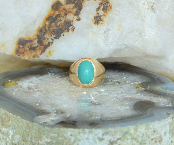 14K Rose Gold Turquoise Cabochon Ring, Size 6.75