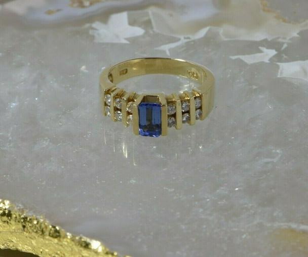 14K Yellow Gold Tanzanite and Diamond Ring 1ct+ tw Size 6 Circa 1990