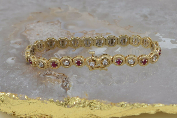 "14K Yellow Gold 3ct tw. Ruby and Diamond Bracelet 7"" length Circa 1980"