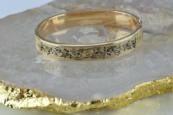 Antique Eduardian 14K Yellow Gold Enameled Hinged Bangle Bracelet Circa 1900