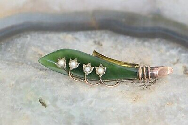 10K Rose Gold Nephrite Jade and Pearl Pin, Circa 1950