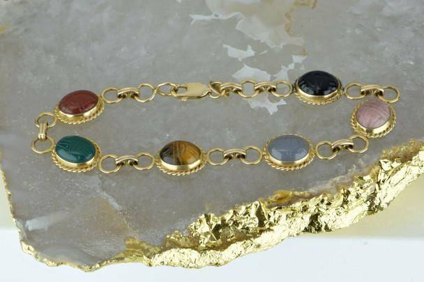 "14K Yellow Gold Scarab Bracelet by Carla 7.25"" length Circa 1970"