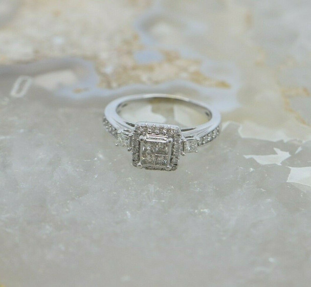 10K White Gold Diamond Pave Ring 3/4 ct tw HSI Size 6.5 Circa 1990