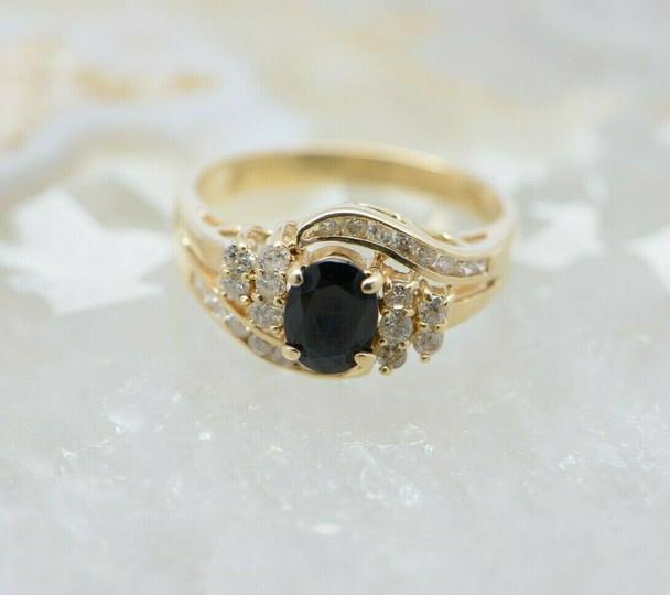 14K Yellow Gold Sapphire and Diamond Ring Circa 1970 Size 6