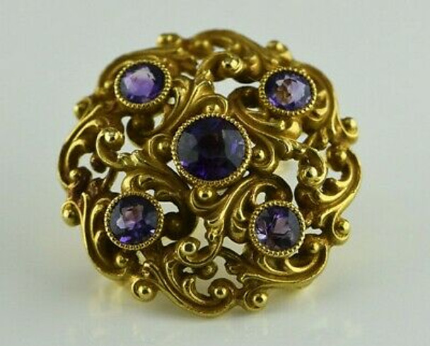 Superb Antique 14K Yellow Gold Amethyst Pin Watch Clip Pendant Circa 1890