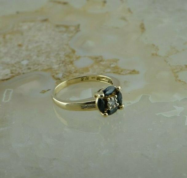 14K Yellow Gold 1 ct tw Sapphire and Diamond Ring Size 6.5 Circa 1990