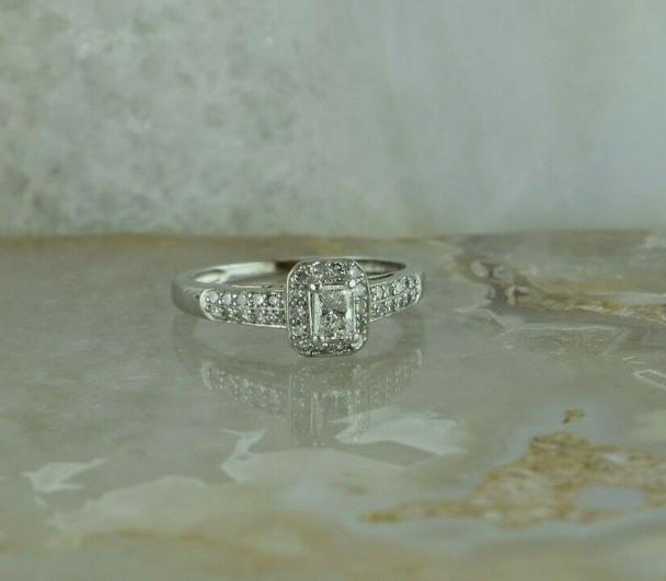 10K WG 1/2ct + Diamond Engagement Ring Radiant Cut Center Size 7 Circa 1990