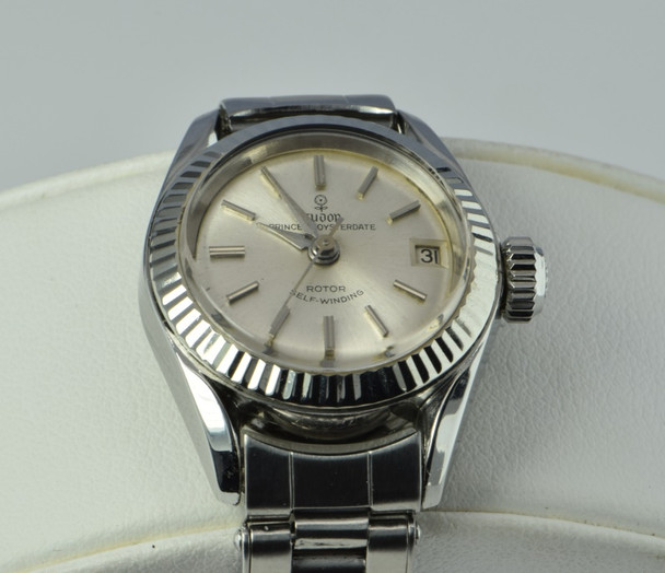 Rolex Tudor Princess Oysterdate Watch, 1959, Riveted Strap, 14K White Gold Bezel