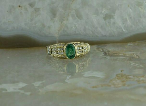 14K YG 1.5 ct tw Emerald & Diamond Pave Ring Size 7.25 Circa 1990