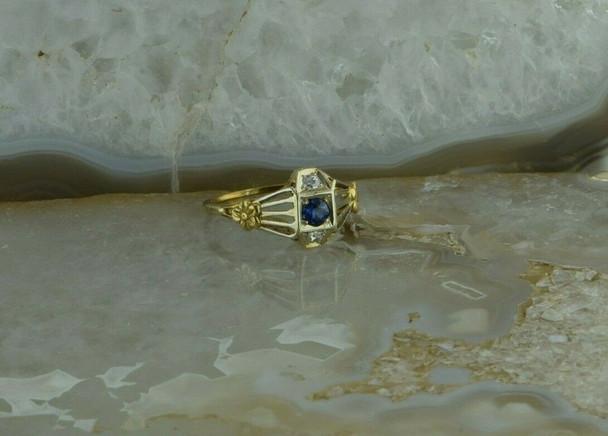 1930's 14K White & Yellow Gold Art Deco Filigree Diamond & Sapphire Ring Size 7