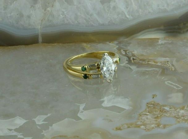 Stunning 18K Yellow Gold 1 ct tw Marquise Diamond and Emerald Wedding Set
