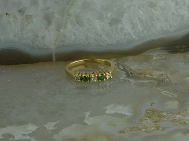 14K Yellow Gold 1/3 ct tw Diamond and Emerald Ring Circa 1990 Ring Size 6
