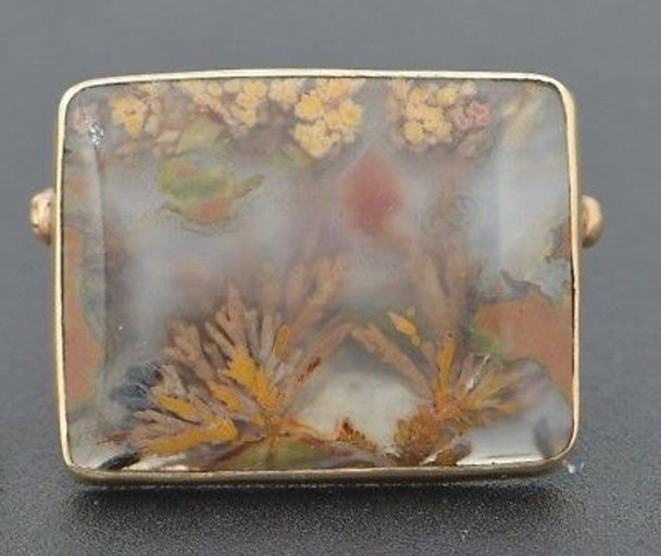 14K Yellow Gold Picture Landscape of Flowers Agate Pin , circa 1940
