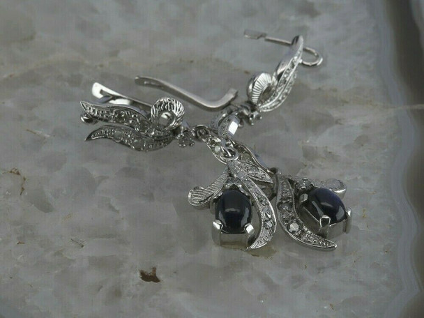 14K White Gold Sapphire and Diamond Ear Pendants,1.5ct tw Circa 1990