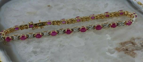 10K Yellow Gold 8 ct tw Ruby and Diamond Bracelet 7 1/8 length Circa 1980