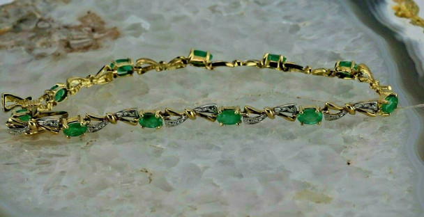 "10K White and Yellow Gold 3ct tw Emerald Bracelet 7"" length Circa 1970"