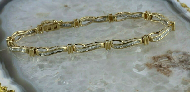 "10K White and Yellow Gold 1ct Diamond Bracelet 8"" length"