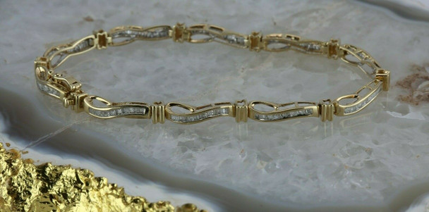 10K Yellow Gold 2ct Kay Jewelers Diamond Baguette Bracelet Circa 1990