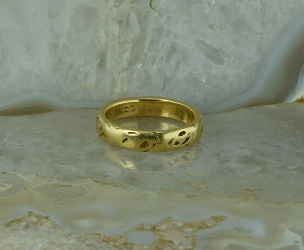 18K Yellow Gold Antique Tiffany Band Size 7.25 Engraved 1893