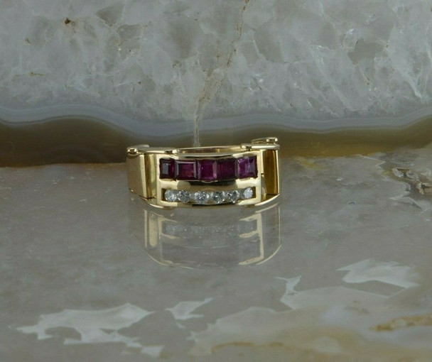 14K Yellow Gold 1ct tw Ruby and Diamond Jointed Band Size 6.75