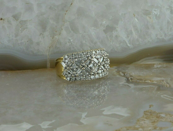 14K Yellow Gold 1ct Diamond Parquet Ring Size 5.25