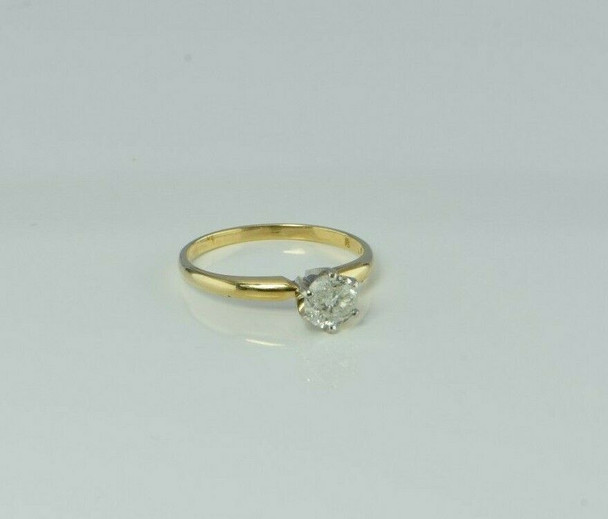 14K Yellow Gold 5/8 ct Diamond Solitaire Ring Size 6 Circa 1960