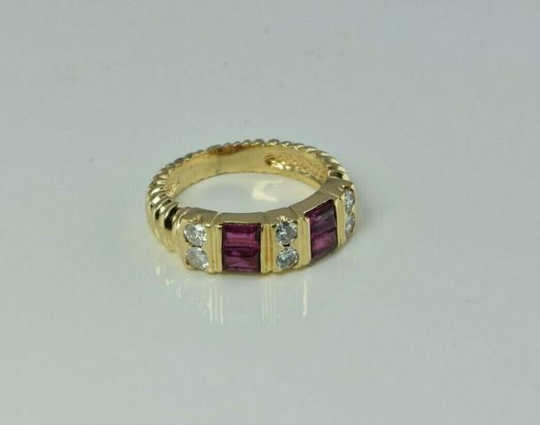 14K Yellow Gold 1ct + Ruby and Diamond Ring Size 5 Circa 1990