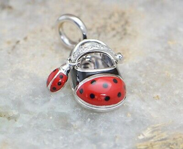 18K Yellow & White Gold Aaron Basha Diamond Lady Bug Shoe Pendant/Charm