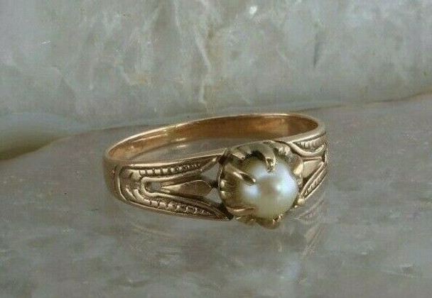 14K Rose Gold Victorian Style White Pearl Ring Neo Egyptian Style Size 5.75