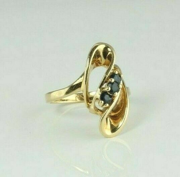 14K Yellow Gold Sapphire Modernist Ring Size 6