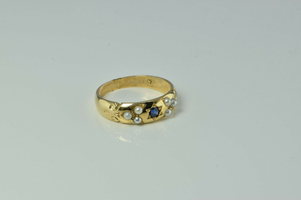 Vintage 14K Yellow Gold English Sapphire and Pearl Ring London 1922 Ring Size 7