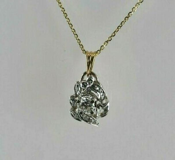 14K Yellow and White Gold Diamond Necklace Circa 1950 Italy