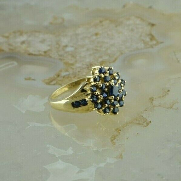 14K Yellow Gold Sapphire Cluster Ring Size 5 Circa 1980