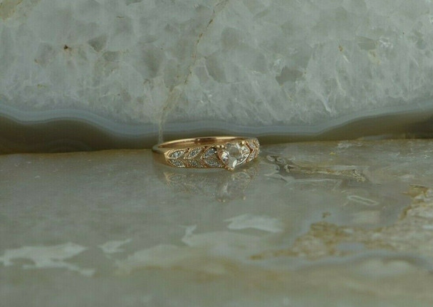 10K Pink Gold Crystal Heart Ring Small Stone Accents Ring Size 7 Circa 2000