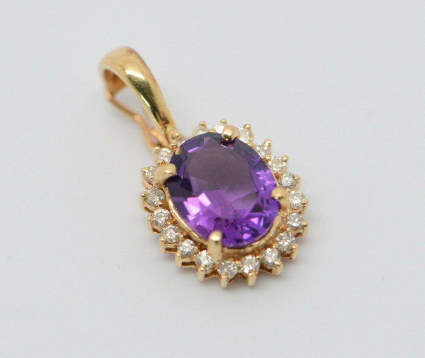 14K Yellow Gold Amethyst and Diamond Halo Pearl Enhancer Pendant