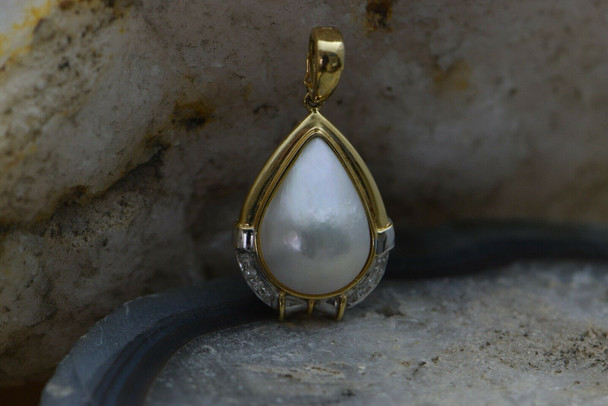14K Yellow Gold Mabe Pearl and Diamond, Pearl Enhancer Pendant