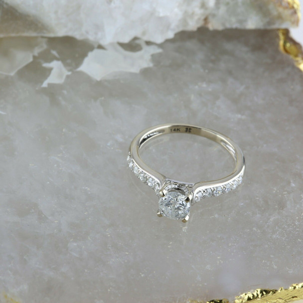14K White Gold Diamond Engagement Ring 0.70 Ct Center Stone Size 7 Circa 1990